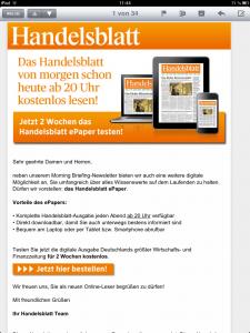 Handelsblatt E-Mail vom 5.2.2013